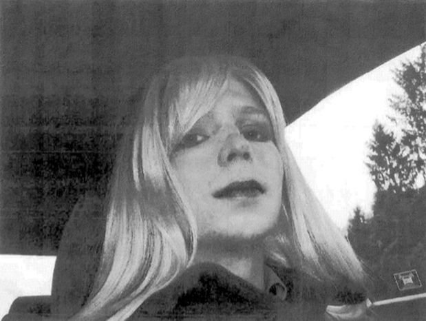 """** FILE ** Then-Army Pfc. Bradley Manning poses wearing a wig and lipstick in an undated photo. Manning emailed his military therapist the photo with a letter titled, """"My problem,"""" in which he described his issues with gender identity and his hope that a military career would """"get rid of it."""" (AP Photo/U.S. Army)"""