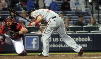 Bryce Harper is hit by a pitch from Atlanta Braves left-hander Luis Avilan in the Washington Nationals' loss on Friday night. (Associated Press photo)