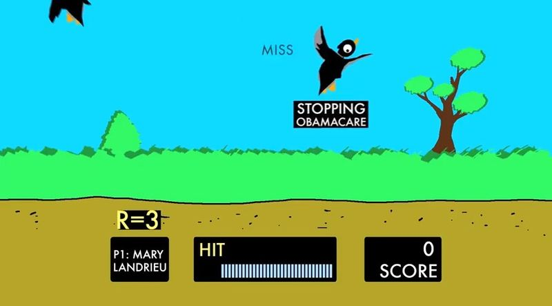 """Sen. Mary L. Landrieu in an ad that riffs off the classic Nintendo game """"Duck Hunt."""" (Courtesy of the National Republican Senatorial Committee)"""