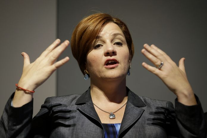 ** FILE ** New York City Council Speaker Christine Quinn, who is running for mayor, speaks during an event in New York on Wednesday, Aug. 14, 2013. She was there to announce Built/NYC, a pilot program to encourage local designers to work with the city. (Associated Press)