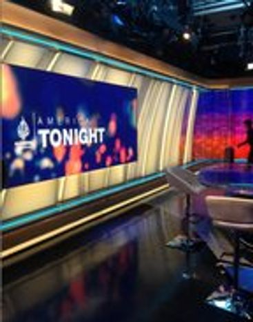 """America Tonight,"" a prime-time news show hosted by former CNN anchor Joie Chen, is among the flagship programming on Al-Jazeera America, which debuted August 20, 2013. (Photo by Jennifer Harper/The Washington Times)"