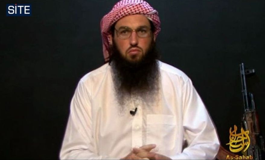 **FILE** This image from video provided by the SITE Intelligence Group shows Adam Gadahn as he appeared on a video released on militant websites on Oct. 23, 2010. (Associated Press/SITE Intelligence Group)