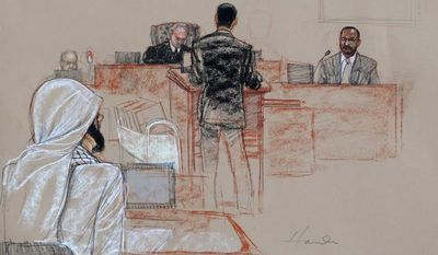 In this pool photo of a sketch by courtroom artist Janet Hamlin and reviewed by the U.S. Department of Defense, U.S. federal agent Stephen McClain (far right), with the Criminal Investigative Task Force of the Department of Defense, testifies about his 2007 interrogation of detainee Mustafa al-Hawsawi, seen at left wearing a neck brace, during the pretrial hearings at the Guantanamo Bay U.S. Naval Base in Cuba on Aug. 19, 2013. Five Guantanamo Bay prisoners accused of helping orchestrate the Sept. 11 terrorist attacks returned to court as arguments resumed. Lawyers for the five prisoners, who face charges that include murder and terrorism, began to challenge the statements made by U.S. federal agents such as McClain and James Fitzgerald of the FBI, who defended their interrogation of al-Hawsawi. (Associated Press)