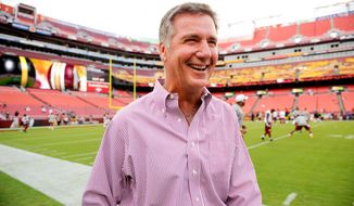 Washington Redskins general manager Bruce Allen laughs on the sideline before the Washington Redskins play the Pittsburgh Steelers in NFL preseason football at FedEx Field, Landover, Md., Monday, August 19, 2013. (Andrew Harnik/The Washington Times)