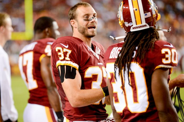 Washington Redskins strong safety Reed Doughty (37) stands on the sideline as the Washington Redskins play the Pittsburgh Steelers in NFL preseason football at FedEx Field, Landover, Md., Monday, August 19, 2013. (Andrew Harnik/The Washington Times)
