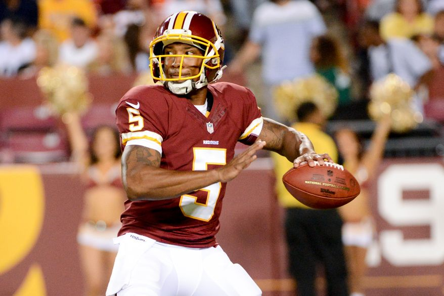 Washington Redskins quarterback Pat White (5) passes as the Washington Redskins play the Pittsburgh Steelers in NFL preseason football at FedEx Field, Landover, Md., Monday, August 19, 2013. (Andrew Harnik/The Washington Times)