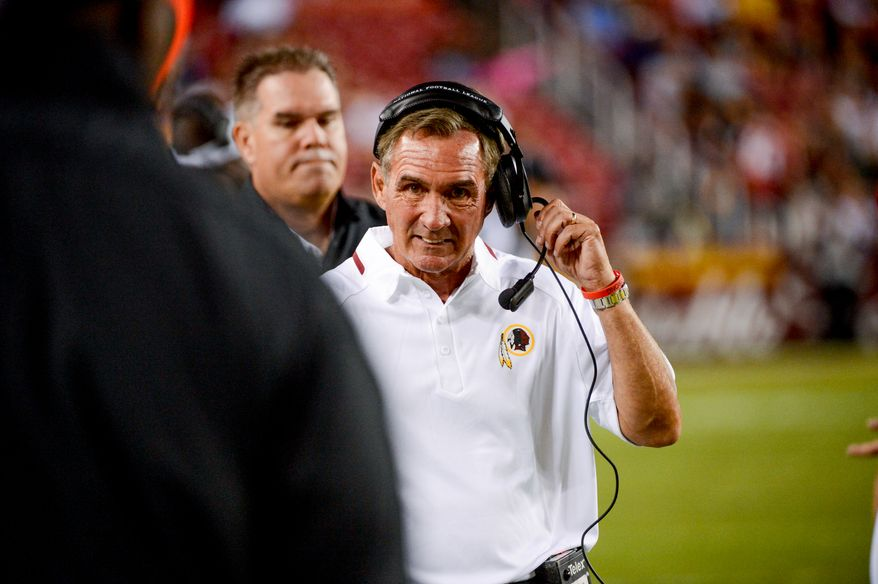 Washington Redskins head coach Mike Shanahan on the sideline as the Washington Redskins play the Pittsburgh Steelers in NFL preseason football at FedEx Field, Landover, Md., Monday, August 19, 2013. (Andrew Harnik/The Washington Times)