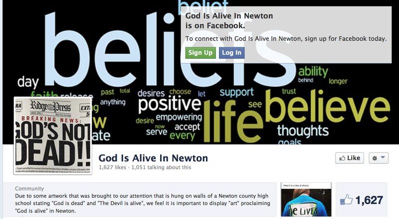 "Crystal Mitchell created the Facebook page ""God Is Alive in Newton"" to counter a poster with the phrase ""God is dead"" at her daughter's high school. (Facebook)"