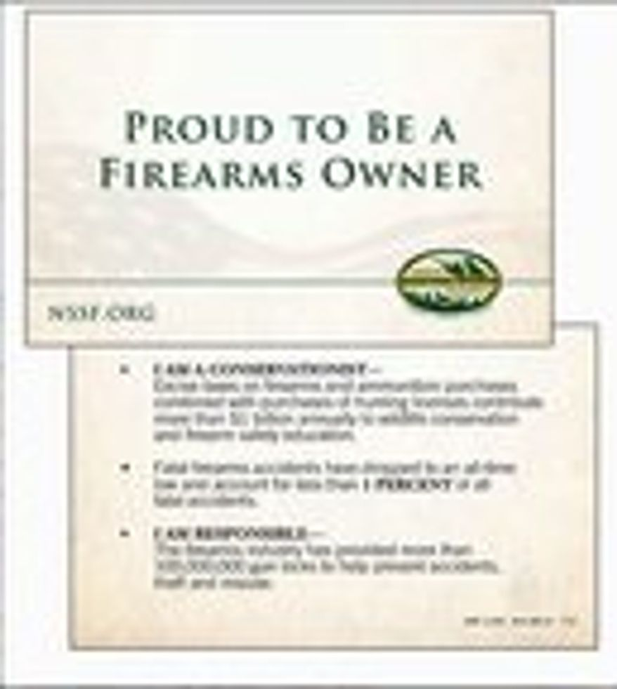 "The National Shooting Sports Foundation is issuing ""Proud to Be a Firearms Owner"" pocket cards to arm gun owners with 13 ""bullet points"" about their identities as law-abiding, safety-minded citizens. (National Sports Shooting Foundation)"