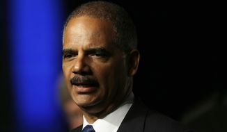 **FILE** United States Attorney General Eric Holder speaks to the American Bar Association Annual meeting on Aug. 12, 2013, in San Francisco. (Associated Press)