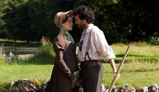 "Keri Russell and Bret McKenzie star as stand-ins for Jane Austen characters in ""Austenland,"" a meta-fictional retelling of ""Pride and Prejudice."" The movie was included in the U.S. Dramatic Film competition at the 2013 Sundance Film Festival. (Sundance Institute via Associated Press)"