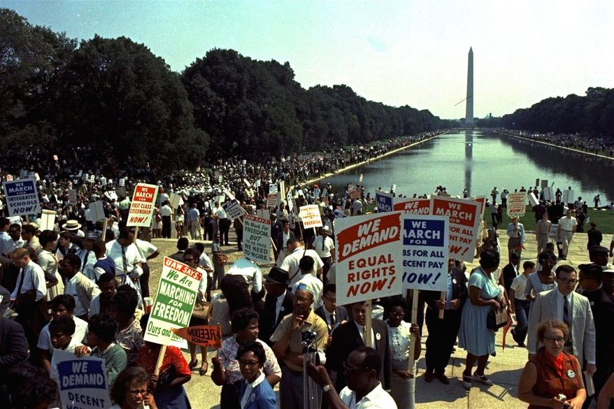 """A million people flocked to the Mall on Aug. 28, 1963 for the March on Washington that was highlighted by the Rev. Martin Luther King's eloquent """"I Have a Dream"""" speech. (ASSOCIATED PRESS PHOTOGRAPHS)"""