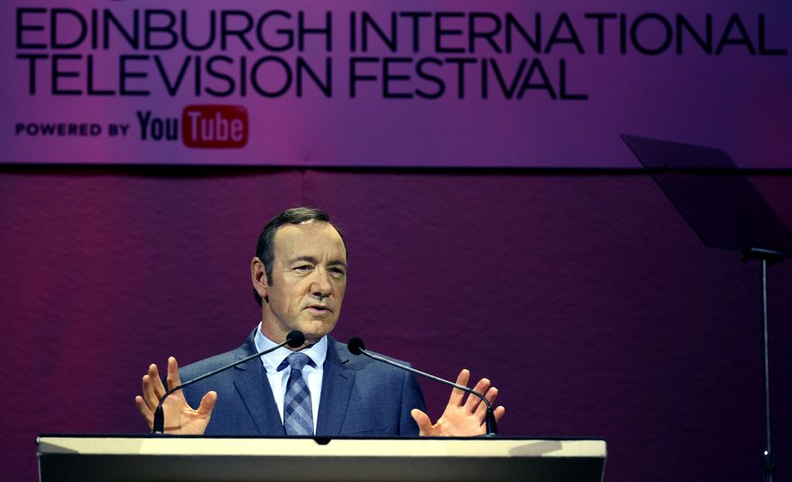 Double-Oscar winner Kevin Spacey at a rehearsal before delivering the keynote speech to the James MacTaggart Memorial Lecture at the Edinburgh television festival on Thursday. (AP Photo/ David Cheskin/PA)