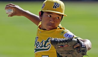 Chula Vista, Calif., pitcher Nick Mora (5) delivers against Westport, Conn. in the first inning of the U.S. championship game at the Little League World Series in South Williamsport, Pa., Saturday, Aug. 24, 2013. (AP Photo/Gene J. Puskar)