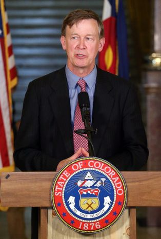 """Colorado Gov. John Hickenlooper, facing a secession movement, said """"when I think of Colorado, it means all of our diverse communities and people."""" (ASSOCIATED PRESS)"""