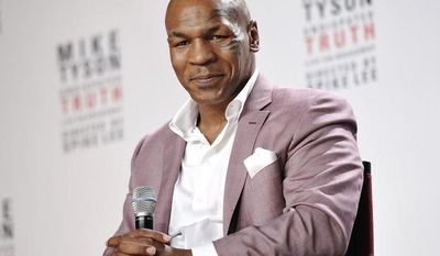 "Former heavyweight boxing champion Mike Tyson announces ""Mike Tyson: Undisputed Truth,"" a one-man Broadway show, in New York on Tuesday, June 18, 2012. (Evan Agostini/Invision/AP)"