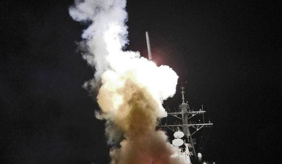 MEDITERRANEAN SEA (March. 19, 2011) The Arleigh Burke-class guided-missile destroyer USS Barry (DDG 52) launches a Tomahawk missile in support of Operation Odyssey Dawn on March 19, 2011. This was one of approximately 110 cruise missiles fired from U.S. and British ships and submarines that targeted about 20 radar and anti-aircraft sites along Libya's Mediterranean coast. Joint Task Force Odyssey Dawn is the U.S. Africa Command task force established to provide operational and tactical command and control of U.S. military forces supporting the international response to the unrest in Libya and enforcement of United Nations Security Council Resolution (UNSCR) 1973. (U.S. Navy photo by Interior Communications Electrician Fireman Roderick Eubanks/Released)