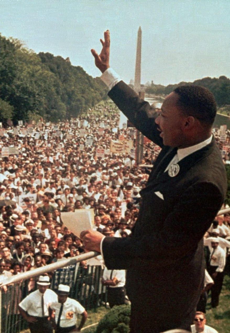"""Although the Rev. Martin Luther King Jr.'s """"I Have a Dream"""" speech will be at the center of Wednesday's rally, speakers will be challenged to use his ideals to address the problems of today. (Associated Press)"""