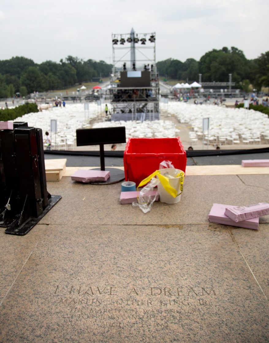 The spot where the Rev. Martin Luther King Jr.' delivered his 'I Have a Dream' speech in 1963 is marked at the Lincoln Memorial. Fifty years later, the nation's first black president will stand in the same place as the most high-profile example of the racial progress King espoused, delivering remarks at a nationwide commemoration of the 1963 demonstration for economic justice and racial equality. (Associated Press)