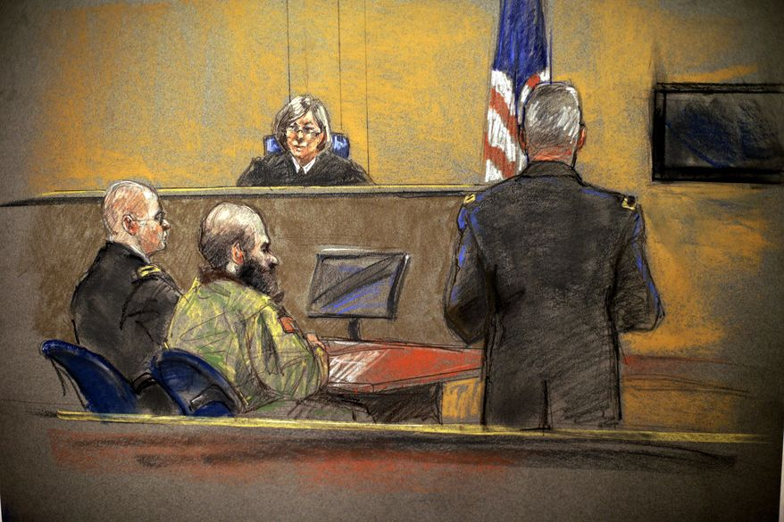 ** FILE ** In this courtroom sketch, Maj. Nidal Hasan, center, sits before the judge, U.S. Army Col. Tara Osborn, during the sentencing phase of his trial, Monday, Aug. 26, 2013, in Fort Hood, Texas. The jury found Hasan unanimously guilty on the 13 charges of premeditated murder in the 2009 Fort Hood shootings. (AP Photo/Brigitte Woosley)