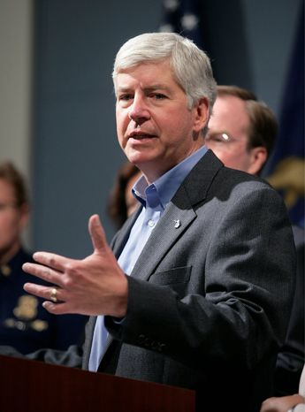 The Michigan House is expected to approve Gov. Rick Snyder's plan for expanding Medicare that requires beneficiaries to cover co-payments, among other conditions. He is one of several GOP leaders to buck near-blanket opposition to within their party. (Associated Press)