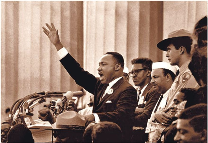 Martin Luther King giving his address at the Lincoln Memorial, Washington,DC, Aug. 28, 1963.