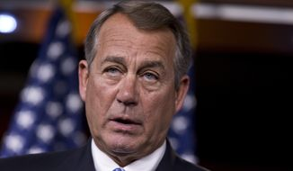 **FILE** House Speaker John Boehner, Ohio Republican, speaks during a news conference on Capitol Hill in Washington on Aug. 1, 2013. (Associated Press)