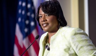 """The Rev. Bernice King, a daughter of the Rev. Martin Luther King Jr., speaks during a """"I Have a Dream"""" gospel brunch at the Willard InterContinental in Washington on Sunday, Aug. 25, 2013. (AP Photo/Jose Luis Magana)"""