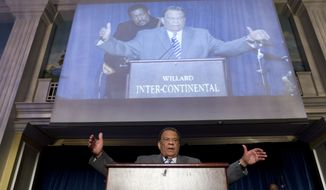 "Andrew Young, who was U.S. ambassador to the United Nations during the Carter administration, speaks during the ""I Have a Dream"" gospel brunch at the Willard InterContinental hotel in Washington on Sunday, Aug. 25, 2013. (AP Photo/Jose Luis Magana)"