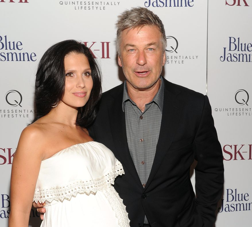 "** FILE ** Actor Alec Baldwin and pregnant wife, Hilaria, attend the premiere of the film ""Blue Jasmine"" at the Museum of Modern Art in New York on Monday, July 22, 2013. (Evan Agostini/Invision/AP)"