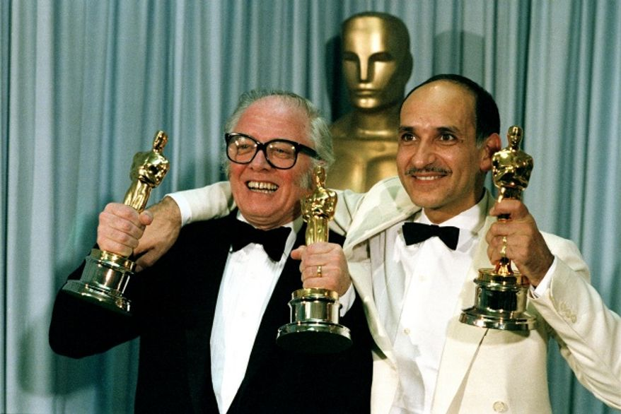 Director Richard Attenborough, left, and actor Ben Kingsley pose with their Oscars at the 55th annual Academy Awards in Hollywood, Calif., on April 11, 1983. (Associated Press)