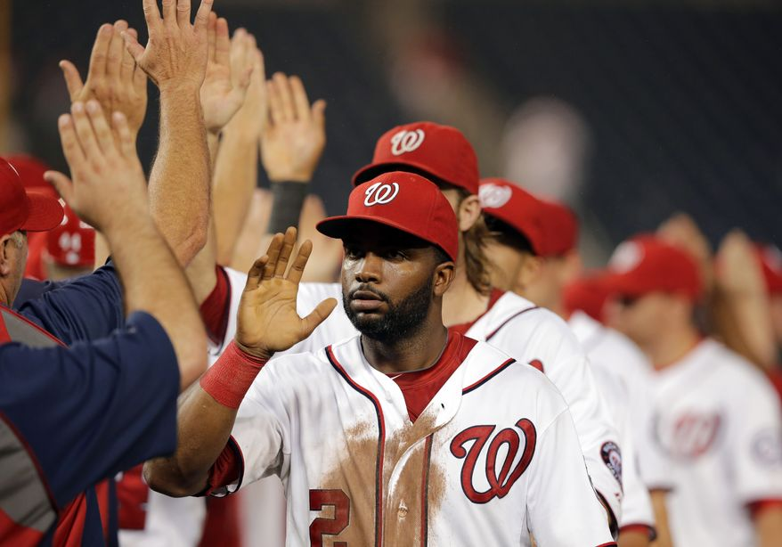 Denard Span scored the game-winning run for the Nationals in their 4-3 victory over the Marlins on Wednesday night. They celebrated their seventh win in their last eight games. (Associated Press photo).