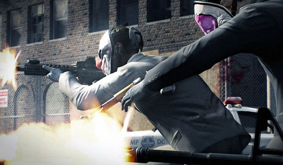 Professional thieves get into a firefight in the video game Payday 2.