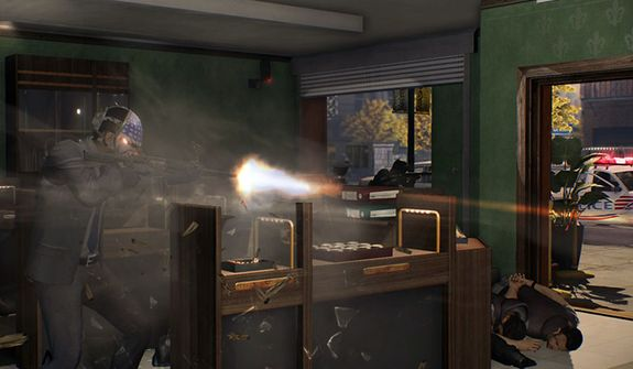 A jewelry store heist goes bad in the video game Payday 2.