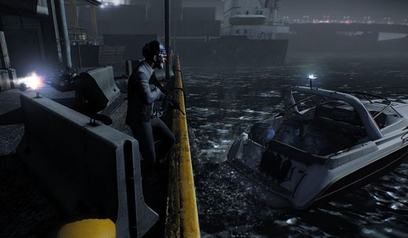 A nighttime escape in the video game Payday 2.