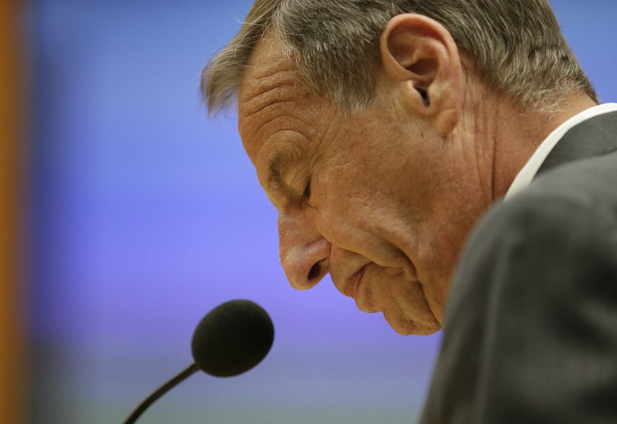 ** FILE ** In this Friday, Aug. 23, 2013, file photo, San Diego Mayor Bob Filner speaks after agreeing to resign at a city council meeting in San Diego. On Friday, Aug. 30, 2013, Filner is leaving office in disgrace amid sexual harassment allegations and many unanswered questions, including how someone who acknowledged mistreating women for many years could have survived for so long in politics. (AP Photo/Gregory Bull, File)