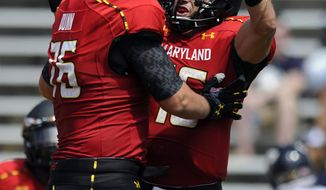 Maryland quarterback C.J. Brown, right, celebrates his touchdown with Michael Dunn, left, during the first half of an NCAA football game against Florida International, Saturday, Aug. 31, 2013, in College Park, Md. (AP Photo/Nick Wass)