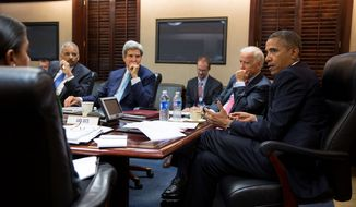 President Obama meets with his national security staff in the Situation Room of the White House on Friday, Aug. 30, 2013, to discuss the situation in Syria. From left at the table are National Security Adviser Susan E. Rice, Attorney General Eric H. Holder Jr., Secretary of State John F. Kerry and Vice President Joseph R. Biden. (White House Photo/Pete Souza)