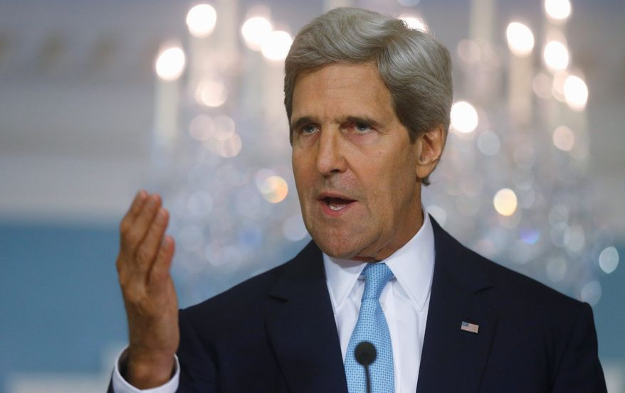 ** FILE ** In this Aug. 30, 2013, file photo Secretary of State John Kerry makes a statement about Syria at the State Department in Washington. Kerry said in a series of interviews on news shows Sunday, Sept. 1, 2013, that the United States now has evidence of sarin gas use in Syria through samples of hair and blood provided to Washington by first responders in Damascus. (AP Photo/Charles Dharapak)