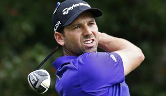 Sergio Garcia, of Spain, hits from the fourth tee during the third round of the Deutsche Bank Championship golf tournament in Norton, Mass., Sunday, Sept. 1, 2013. (AP Photo/Michael Dwyer