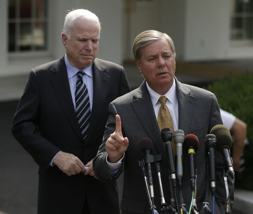 Republican Sens. John McCain (left) of Arizona and Lindsey Graham of South Carolina speak with reporters after a meeting at the White House with President Obama about the ongoing situation in Syria on Monday, Sept. 2, 2013 in Washington. (Associated Press)