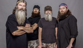 "Members of the ""Duck Dynasty"" clan include (from left) Phil Robertson, Jase Robertson, Si Robertson and Willie Robertson. (AP Photo/A&E, Zach Dilgard)"