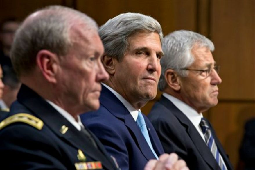 From left, Joint Chiefs Chairman Gen. Martin Dempsey, Secretary of State John Kerry, and Defense Secretary Chuck Hagel, appear before the Senate Foreign Relations Committee to advance President Obama's request for congressional authorization for military intervention in Syria, a response to last month's alleged sarin gas attack in the Syrian civil war, on Capitol Hill in Washington, Tuesday, Sept. 3, 2013. (AP Photo/J. Scott Applewhite)