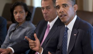 President Obama, flanked by House Speaker John Boehner (left), Ohio Republican, and House Minority Leader Nancy Pelosi, California Democrat, speaks to media in the Cabinet Room of the White House on Sept. 3, 2013, before a meeting with members of Congress to discuss the situation in Syria. (Associated Press)