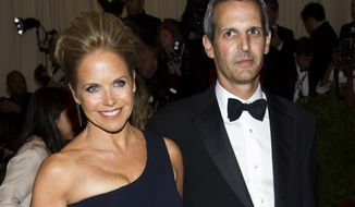 "** FILE ** TV personality Katie Couric and financier John Molner, her longtime beau, attend the Metropolitan Museum of Art's Costume Institute benefit celebrating ""PUNK: Chaos to Couture"" in New York on Monday, May 6, 2013. (Charles Sykes/Invision/AP)"