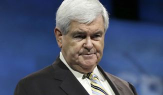 "In this March, 2013 photo, former House Speaker Newt Gingrich appears during the 40th annual Conservative Political Action Conference in National Harbor, Md. CNN said Tuesday that their debate program ""Crossfire"" will begin next Monday, Sept. 9.  (AP Photo/Carolyn Kaster, file)"