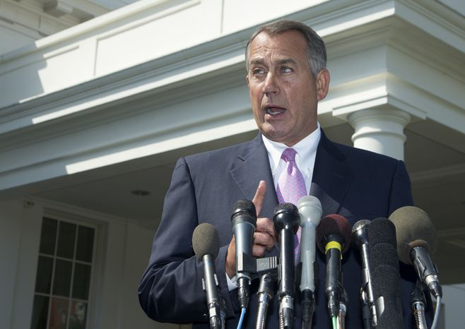 House Speaker John A. Boehner, Ohio Republican, speaks to reporters outside the White House on Tuesday, Sept. 3, 2013, following a meeting between President Obama and congressional leaders to discuss the situation in Syria. Mr. Boehner said he will support the president's call for the U.S. to take action against Syria for alleged chemical weapons use and said his Republican colleagues should support the president, too. (Associated Press)