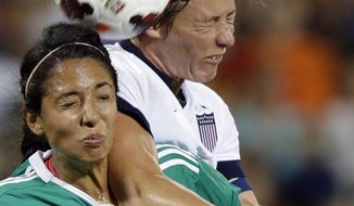 Mexico's defender Christina Murillo (4) and United States' forward Abby Wambach (20) battle for a head the ball during the second half of an international friendly soccer match at RFK Stadium Tuesday, Sept. 3, 2013, in Washington. United States won 7-0. (AP Photo/Alex Brandon)