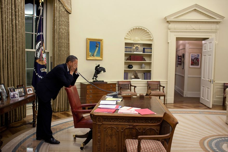 """March 19, 2010 """"After dinner, the President returned to the Oval Office to continue pressing Congressmen to vote for the health care reform bill. In those final days before the vote, the President made hundreds of calls."""" (Official White House Photo by Pete Souza)"""