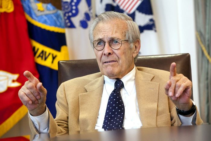 Former Secretary of Defense Donald H. Rumsfeld speaks at the Gerald R. Ford Presidential Museum in Grand Rapids, Mich., on Tuesday, Sept. 3, 2013. (AP Photo/The Grand Rapids Press, Emily Zoladz)